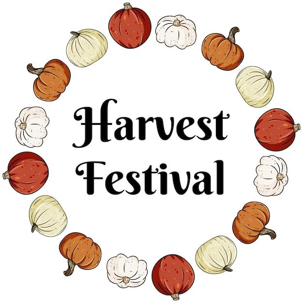 かわいいカラフルなカボチャと収穫祭装飾花輪バナー Premiumベクター