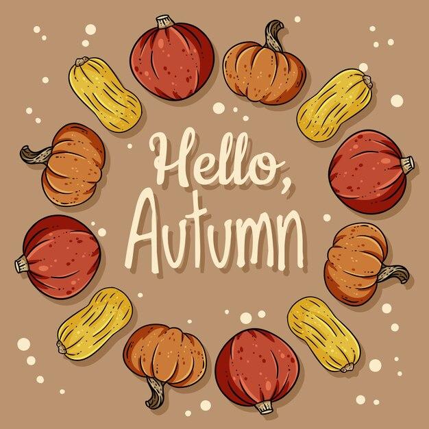 こんにちは、カボチャと秋の装飾的な花輪かわいい居心地の良いバナー。 Premiumベクター