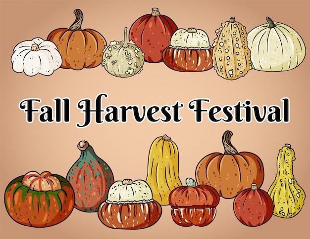 かわいいカラフルなカボチャと秋の収穫祭装飾バナー。 Premiumベクター