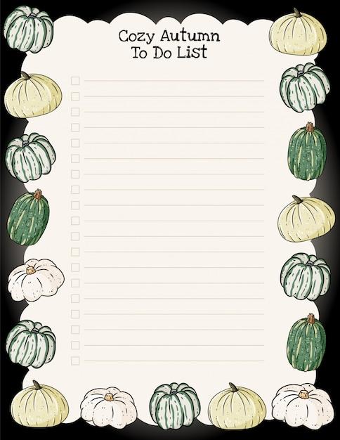 居心地の良い秋のウィークリープランナーとトレンディなカボチャの飾りのリストを行う Premiumベクター