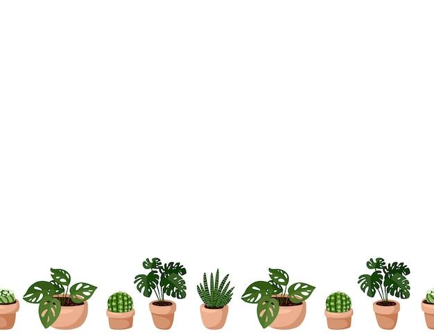 ヒッジのかわいいセット鉢植え多肉植物のシームレスなパターンの境界線 Premiumベクター
