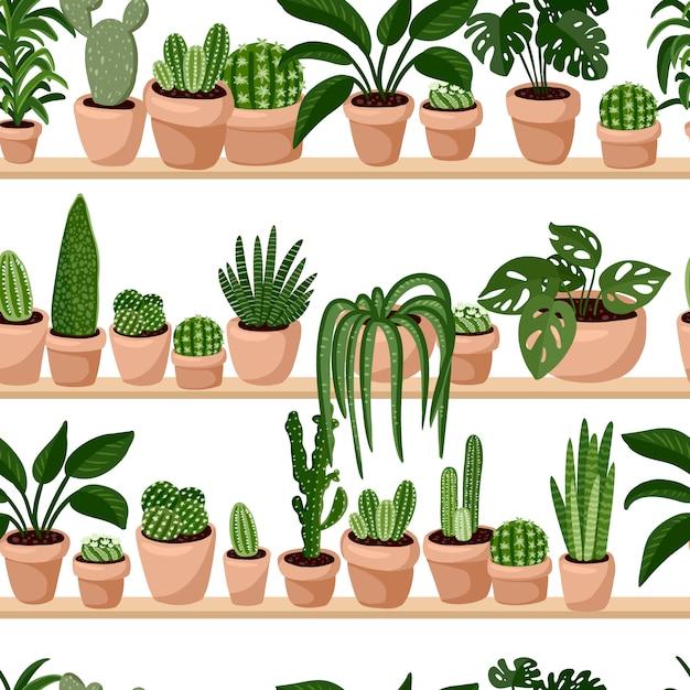 棚は、棚のシームレスなパターンに多肉植物を鉢植え。 Premiumベクター
