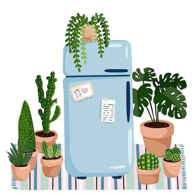 スタイリッシュな北欧のリビングルームのインテリア-ヒッジレトロな冷蔵庫と植物。 Premiumベクター