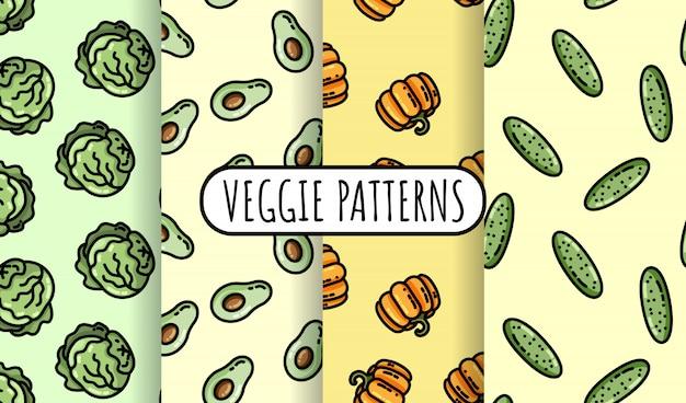 カラフルな野菜のシームレスパターンのセット。 Premiumベクター