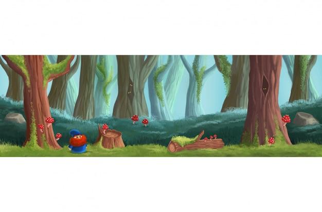魔法の森のゲームの場所。プラットフォームゲームデザイン Premiumベクター