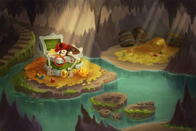 宝物でいっぱいの海賊洞窟。宝箱を守るスケルトン。 Premiumベクター