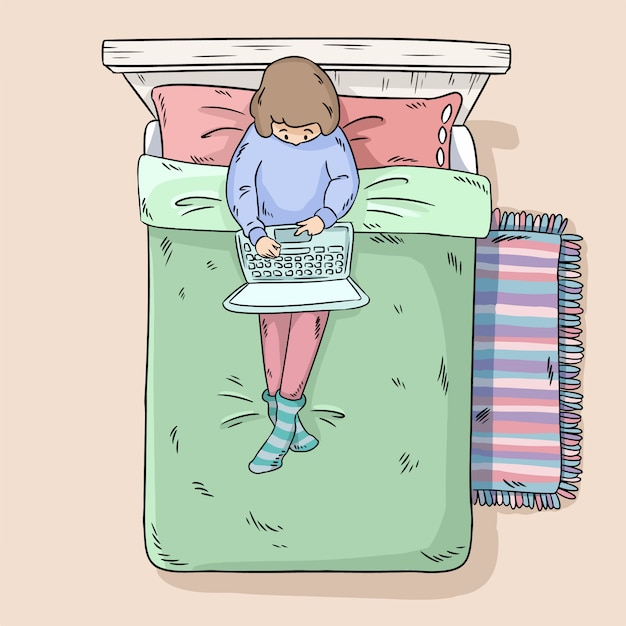 ベッドの上のラップトップを持つ少女 Premiumベクター