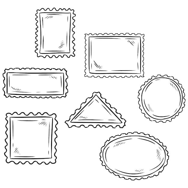 手描きスケッチポストスタンプ記号のセット Premiumベクター