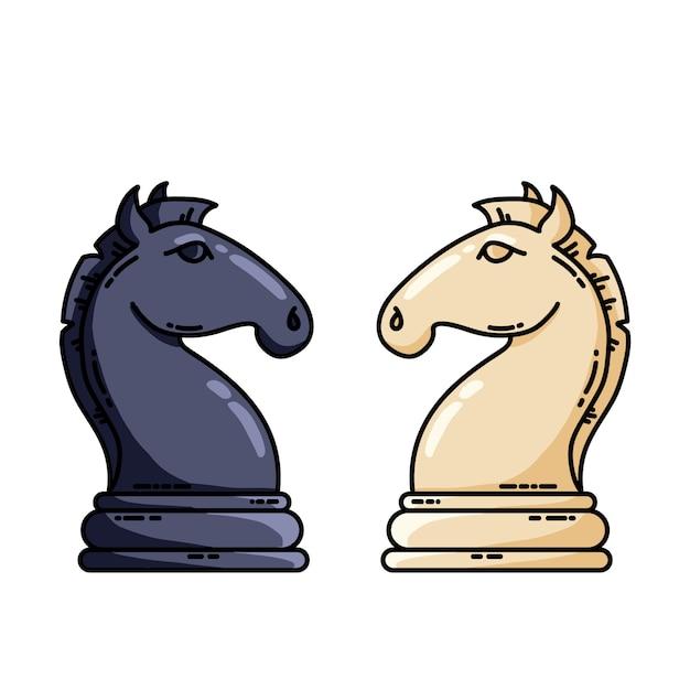 黒と白のチェスの騎士ベクトルフラットベクトル画像 Premiumベクター