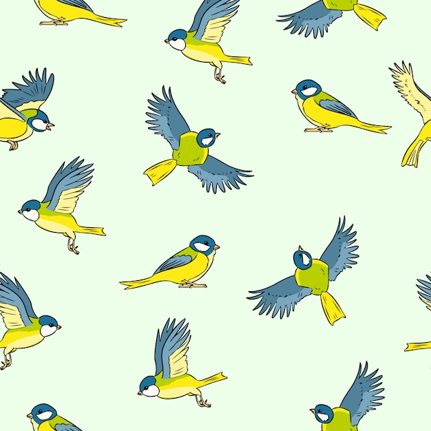 コミックスタイルシジュウカラ春の鳥のカラフルなシームレスパターン Premiumベクター