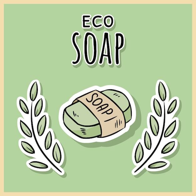 天然素材のエコソープ。 Premiumベクター