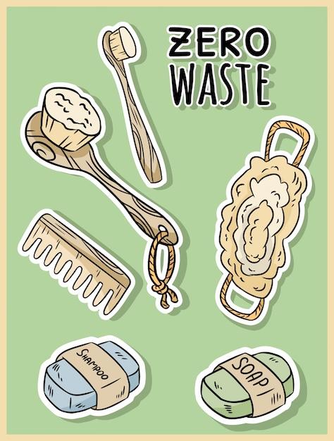 天然素材のシャワーアイテム。生態学的およびゼロ廃棄物温室とプラスチックフリーの暮らし Premiumベクター