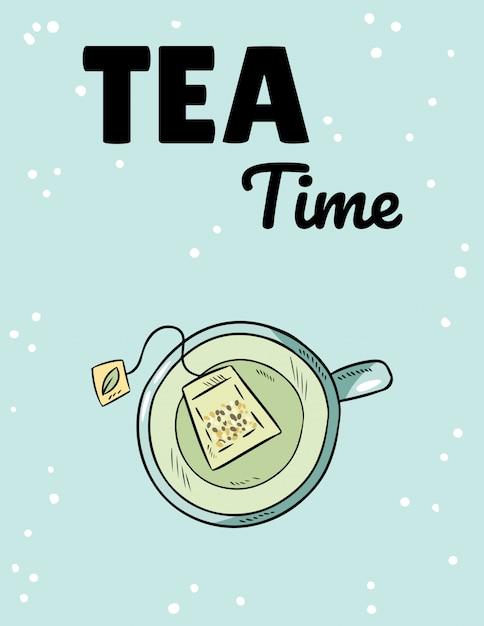 お茶の時間。緑茶のコップ。手描き漫画スタイルのかわいいポストカード Premiumベクター