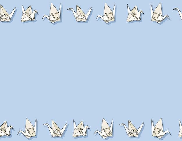折り紙白鳥手パステルカラーで描かれたシームレスパターン。 Premiumベクター