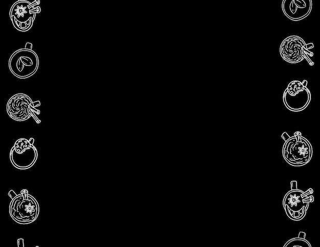 カップとマグカップ装飾的なシームレスパターン。黒と白の文字黒板背景 Premiumベクター