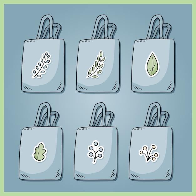 無駄のないコットンバッグのセットです。毎日あなた自身のかばんを持ってきてください。生態学的およびプラスチックの袋の無料コレクション。グリーンに行く Premiumベクター