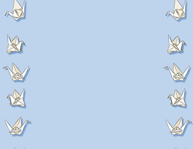 折り紙白鳥手の描かれたシームレスパターン Premiumベクター