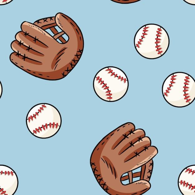 野球のシームレスなパターン。かわいい落書き手描きボールと手袋 Premiumベクター