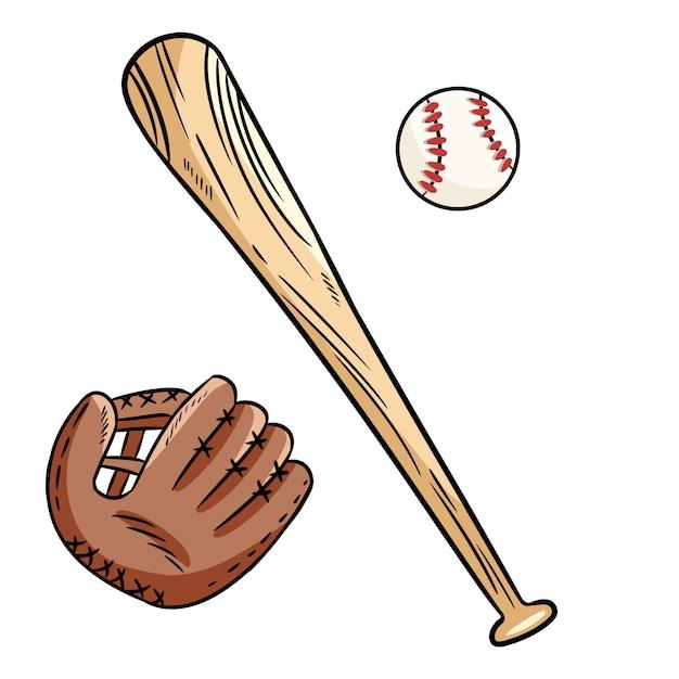 Рисованные каракули бейсбольный мяч, кепка и летучая мышь Premium векторы