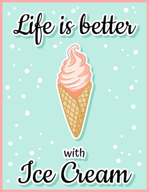 Жизнь с мороженым лучше, милый мультфильм открытка. творческая, романтическая, вдохновляющая цитата. Premium векторы