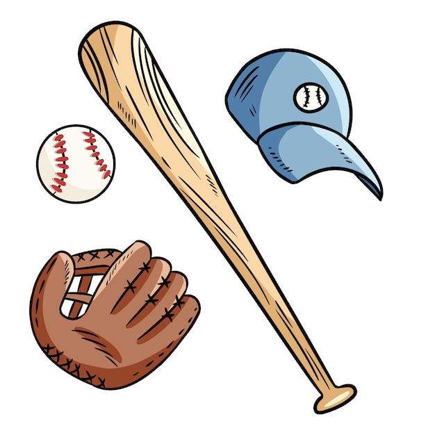 野球、野球のバット、帽子、そしてキャッチグの手袋のいたずら書き。 Premiumベクター