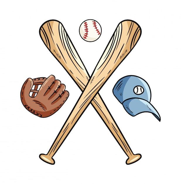 Две скрещенные бейсбольные биты и мяч, значок спортивный логотип Premium векторы