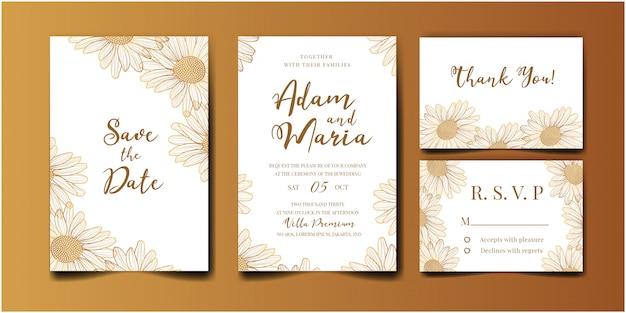 Свадебные приглашения золотой набор с красотой цветочные тюльпан цветок абстрактный каракули рисованной стиль украшения украшения Premium векторы