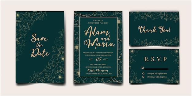 Свадебные приглашения установить с красотой цветочный тюльпан цветок абстрактный каракули рисованной стиль украшения украшения Premium векторы