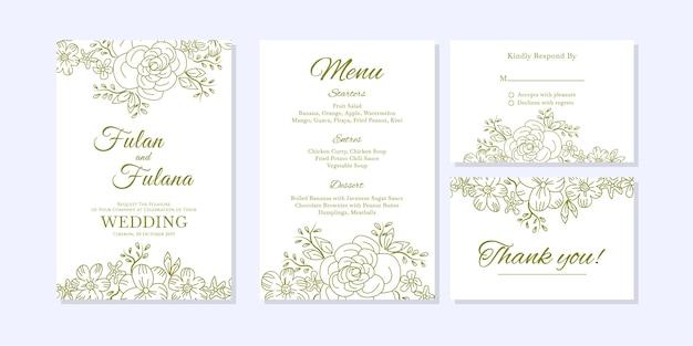 落書きスケッチ結婚式の招待状の概要花と花の装飾的なデザインスタイルテンプレート Premiumベクター