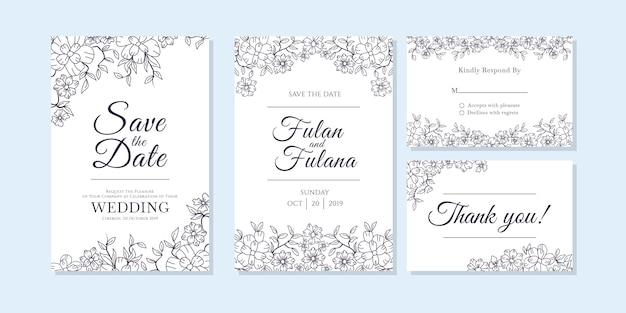Свадебная пригласительная открытка с каракули эскиз наброски цветочного и цветочного орнамента Premium векторы
