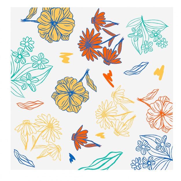 Цветочный фон осень цветок поверхности каракули эскиз Premium векторы