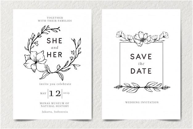 モノクロアウトライン落書きモダンなレトロなビンテージ結婚式招待状テンプレートカードを設定手描き下ろし分離花と美しさエレガントな花飾り装飾ベクトルイラスト Premiumベクター