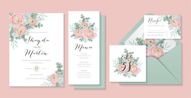 Шаблон приглашения в пастельную свадьбу с красивым лютиком, эвкалиптом и пыльным мельником Premium векторы