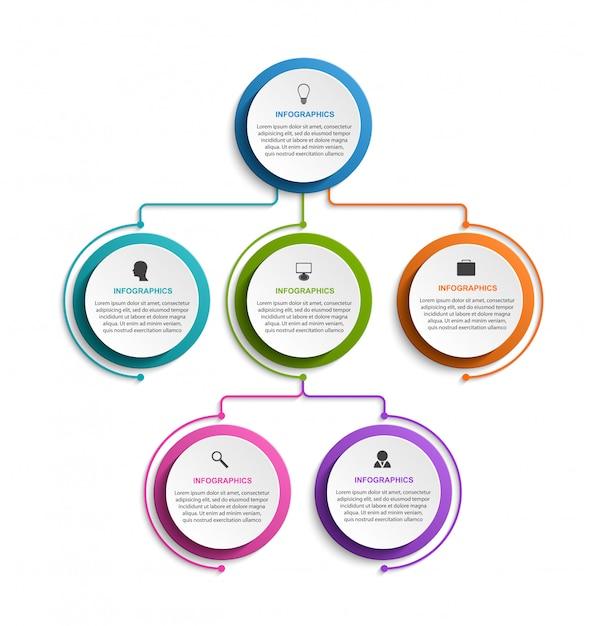 インフォグラフィックデザイン組織図テンプレート。 Premiumベクター