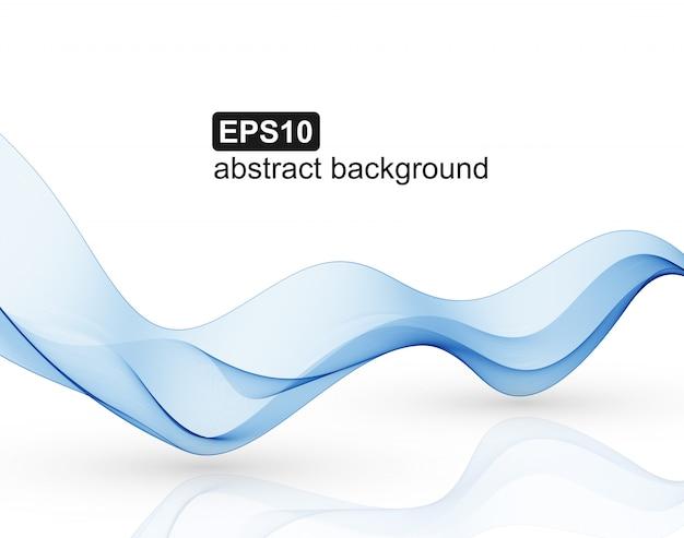 Синие абстрактные волны на белом фоне. Premium векторы