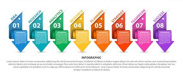 Инфографики с красочными стрелками. Premium векторы