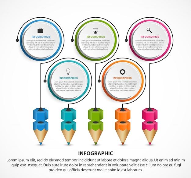 カラフルな鉛筆を使った教育のためのインフォグラフィック。 Premiumベクター