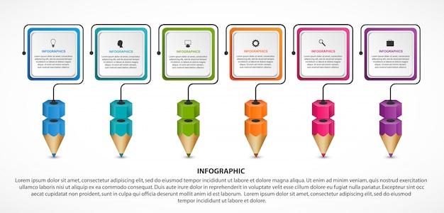 Инфографика для образования с красочными карандашами. Premium векторы