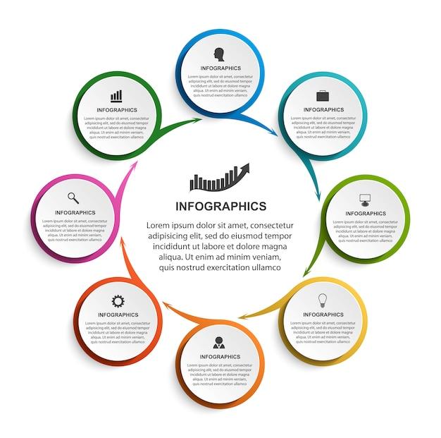 ビジネスプレゼンテーションの矢印の付いたインフォグラフィックテンプレート。 Premiumベクター