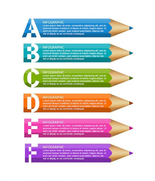 Инфографика шаблон с карандашом. Premium векторы