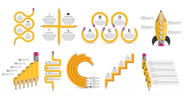 コレクション教育インフォグラフィックテンプレート。 Premiumベクター