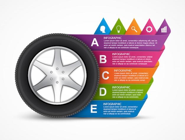 Колесо автомобиля инфографики. Premium векторы