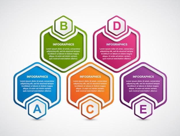 六角形のビジネスオプションのインフォグラフィックテンプレート。 Premiumベクター