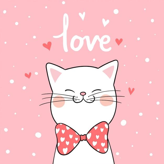 バレンタインのピンクの背景を持つ白い猫を描く Premiumベクター