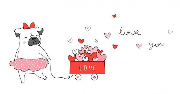 バレンタインのカートに小さな心の猫と一緒にパグ犬を描きます。 Premiumベクター