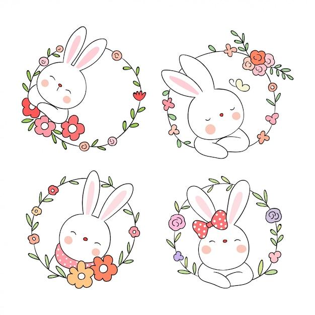 美しさの花輪の花とかわいいウサギを描く Premiumベクター