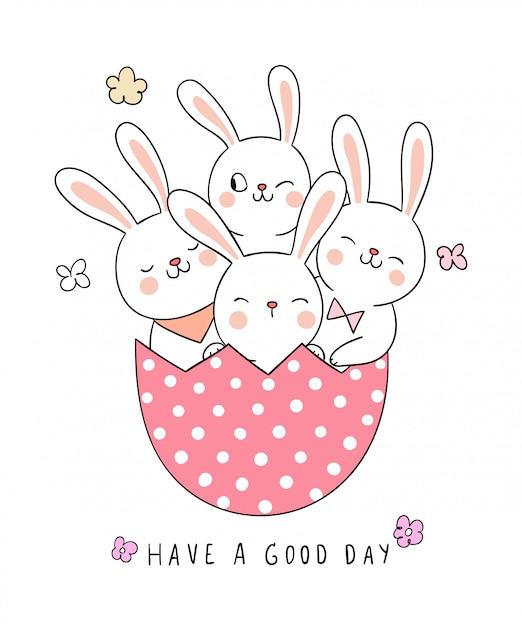 春の季節のためにピンクの卵でウサギを描きます。 Premiumベクター
