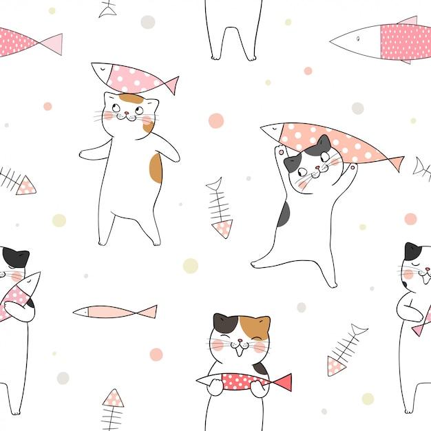 白の魚とのシームレスなパターンかわいい猫。 Premiumベクター