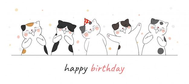 手をたたくと誕生日のために歌ってバナーかわいい猫を描きます。 Premiumベクター