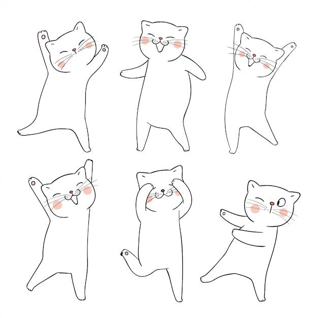 白地に落書きセット猫の輪郭を描きます。 Premiumベクター